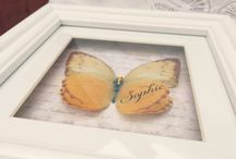 Framed silk and paper butterflies / Here are a few examples of butterflies I have framed for customers. Some are silk and others vellum paper, they can be personalised with dates and names too. Contact me via my Easy shop for more details!