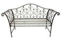 Garden Metal Bench Patio Outdoor Unit Furniture Modern Seats Sofa Black Vintage
