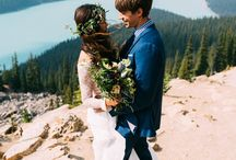 BANFF NATIONAL PARK ELOPEMENT WEDDING / Intimate elopement in Banff National Park with Boho styled bride and groom.   Planning by: Kismet and Clover Dress: Laura George Designs Florals: Antheia Floral