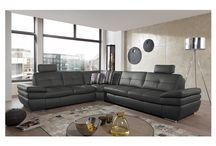 Modern Genuine-Leather Dark Grey Sectional