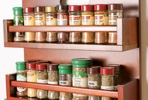 Spice Racks / Organise spice and herb jars with these handmade wooden spice racks which can be wall mounted or placed freestanding on a kitchen counter top.