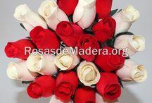 Ramos de Rosas de Madera / Rosas y flores de madera baratas de colores. Regala un ramo de rosas  perfumadas de madera realizadas a mano, de buena calidad.