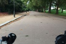 Cycling / Everyday. Through London. On a Brompton. Stop for red lights.