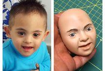 Das Gesicht von meiner Sohn modelliert