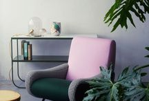 Pink and green interior spaces