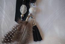 bijoux de sac porte-clés / bijoux de sac et porte-clés multicolores,rubans,perles,pompons,plumes,bois,charms,