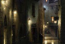Noche, faroles,lluvia....