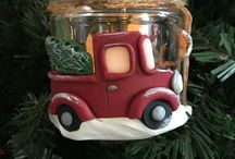 christmas polymer clay jars