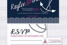 Yacht club wedding / Nautical wedding theme wedding invitations anchor wedding yacht club navy blue and hot pink