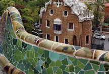 Mozaieken betonnen bank