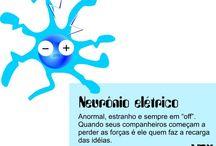 """Neurose Nervosa / A idéia era criar algo em que eu pudesse contemplar as várias bobagens, esquisitices e outros componentes do """"pensamento moderno"""". São características, defeitos ou até mesmo qualidades (entenda como quiser) que resolvi ressaltar a partir de uma única forma, um neurônio estilizado que vai mudando de expressão e cores, conforme a atitude que representa."""