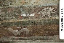 """Fossils, & Reconstructions, of Dinosaurs And Other Weird Creatures Of The """"Prehistoric"""" Era. / What a world of strangeness and diversity it was, as revealed by the geological layers of the Earth! And generally compared with today's animals, land animals, sea creatures, insects, of that begone age were of gigantic proportions!"""