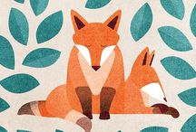 FOXES / Illustrations, art, ceramics, sculptures, etc of foxes, particularly for children.