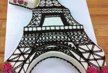 Eiffel tower cakes/decor