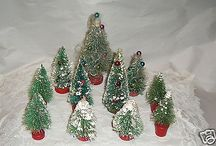11 VINTAGE BOTTLE BRUSH TREES GREAT FOR PUTZ VILLAGE DECORATING-CHECK THEM OUT