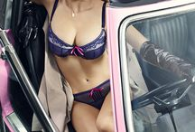 Scary road /  Our lovely Miss Detective continues to investigate and embarks on a terrible sexy car chase! Welcome to the Scary Road! #PinkThriller #lingerie #FW15 #ScaryRoad #carchase