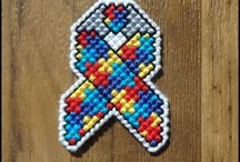 Cross Stitch, Embroidery, Beading, Needlepoint, and Applique Awareness Ribbon Art and Craft Projects / Featuring awareness ribbon projects that use beading, embroidering, cross stitch, needlepoint, applique, and other similar items that are DYI art projects or items to buy.  Pins are potential great ideas for fundraising or awareness art gifts!