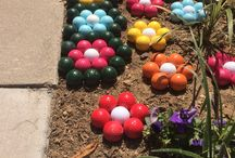 Painted golf balls flowers for gardens as decorations