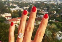 Diamonds are a girls best friend / Yellow gold. Emerald cut. Diamond band.