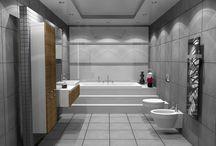 THE SIMPLICITY OF GREY / Μελέτη και φωτορεαλιστική απεικόνιση μπάνιου σε μονοκατοικία στην Πυλαία Θεσσαλονίκης. Έχει βασιστεί αποκλειστικά στα πλακάκια City Grey 45 x 45 cm.