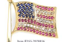 Red, White, & Blue / Show your love for America and Team USA with red, white, and blue jewelry and gemstones! Show of your United States pride while you celebrate the 4th of July or cheer at the Olymipics with these White Diamond, Red Rubies, and Blue Sapphire pins, rings, bracelets, necklaces, and more! To order from Gem Shopping Network call us at 888-791-0897 or visit www.gemshopping.com