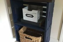 Side cupboard made from 2 stacked crates