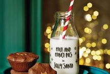 Christmas milk bottles