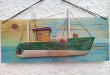 Handmade wooden boats / Handmade wooden decor boats.