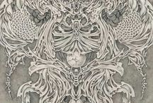 Skulls, occult, witchs and surreal art / illustration, drawing, designer, art, skull, skeketon, inspiration, occult, witchcraft, dotart, dark art, surreal, abstract,  santa muerte, tarot, geometria,  native, goth, grunge, death, alchemy, black magic, tattoo, symbol, sacred, space, black work, mandala, cat, witch, traditional, aztec, schizumizu,