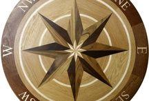 Trimble Hardwood Compas Rose Floor Medallion / Hardwood Compass Rose Floor Medallion Inlay