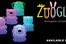 ZooGlo / The animals from Zooglo are filled with light and love and are ready to become your child's best friend. Made from durable, non toxic PVC (BPA and lead free) the Zooglo range provide a comforting night light that is the perfect size for little hands. Leave your animal friend on all night or set it to fade off after 30 minutes. Once fully charged the Zooglo will stay lit for up to 10 hours.