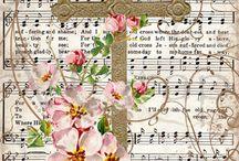 Kaart met muziekpapier