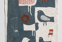 hand stitching on hand printed fabric