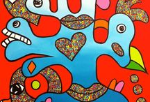 Love and Connect / 70x70 - acryl op doek