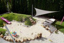 Natural playground / Natural playground with playhouse for kids as part of an aparthotel's newly established garden at Lake Balaton, Hungary/ Domb játszótér játszóházzal egy Balaton parti apartmanhotel újonnan épített kertjében
