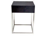 Contemporary New Wenge Wood Veneer One Drawer Chrome Base Corso Side / Bedside Table