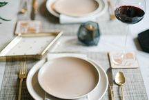 Table Settings - Metallic / shimmer, reflection, sharp and modern, by day and night.