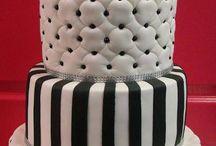 Black and white tuffed cake