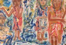 Donne sotto le palme Nefertari Pilarczyk   pitturiamo Catanzaro / Quadri pittura contemporania cose da comprare