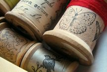 Sewing Thread Spools / vintage and altered sewing thread spools, I love these!