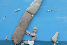 gemalte Bilder mit Steinen