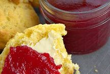 jam, butter and syrup