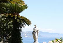 Villa at the Sea / Sitting atop a lush covered hill on the Amalfi Coast of Italy the Villa looks out to the sea.  It's known as one of the most beautiful properties in all of Italy and owned by the Lombardi family who have painstakingly cared for it for many years.  The Villa's beauty is it's legacy to share with all who see it. / by Deborah Levy Designs