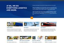 BIL International Logistics / This is a website we created to promote the variety of expert services BIL Logistics offers, including road, air and sea freight, complemented by warehousing, time-critical and specialist services. www.billogistics.com/