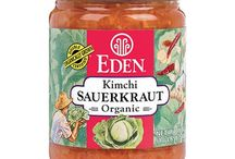 Eden Sauerkraut / 3 Eden Sauerkrauts in 18 oz. glass jars, all made of authentically organic ingredients. Kimchi Sauerkraut, spicy red with organic kimchi herbs & spices. 3 Onion Sauerkraut is mellow, sweet, & savory. Original Eden Sauerkraut homemade taste and lactic acid fermentation efficacy now comes in an 18 oz. jar, while continuing its availability in 32 oz.  jar. Over 90 years of experience, tradition, and one family's care from field to jar. No untoward additives, of any kind whatsoever.
