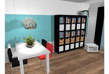 project trapjeswijk / Een project voor een nieuwbouw woning. De klant wilde graag een modern / retro inrichting. zwart/wit in combinatie kleur was belangrijk ofwel  Contrasterende kleuren. Er was een klein budget beschikbaar.