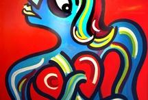 Lenguaje del corazón / Serie de trabajos, realizados sobre distinto soporte, en técnica acrílica donde predomina el color y la línea y una temática similar: lel fluir de la vida, la feminidad...