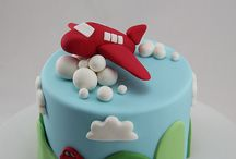Aeroplane cakes and toppers