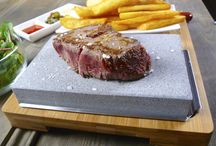 LAVA STONE STEAK SET / This board is for recipes and pictures of Lava Stone Steak Sets