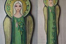ikony; malowane na drewnie